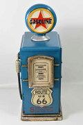 レトロなガソリンスタンド型BOX/ブルー/(高さ:47.0cm)