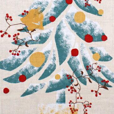 【ネコポス送料300円】絵てぬぐい「もみの木とサンキライ」【冬柄 クリスマス 濱文様】