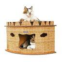 キャットハウス ダンボール 猫 ハウス キャットタワー 爪とぎ 猫用 家 子猫 ドーム型 ベッド ペット用 ...