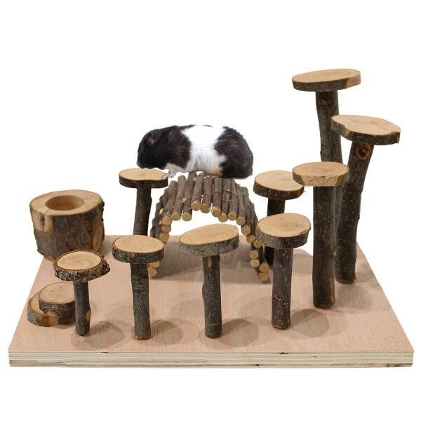ハムスターおもちゃ遊び道具かじり木リスアスレチック木製インコトンネル餌入れ木小動物ハウス家内装セット