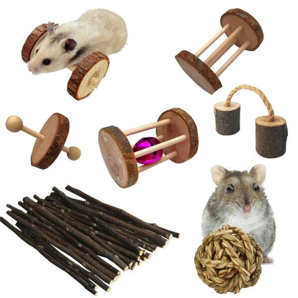 7点セット ハムスターおもちゃセット遊び道具かじり木リスアスレチック木製ハリネズミテグー運動あそび道具