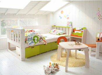 E-koシングルベッド【送料無料】簡単組み立てすのこ子供用キッズ自発心を促すオレンジグリーン|シングル二段ベット二段ベッド2段ベッド2段ベットおしゃれ小学生子どもベッド子供用ベッド子供ベットベッドフレームスノコすのこベッドすのこベット