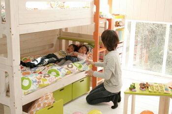 E-ko2段ベッド【送料無料】【簡単組み立て】【SGマーク認定】【ベッド】【すのこ】【子供用】【キッズ】【E-ko】【自発心を促す】【ナチュラル】【オレンジ】【グリーン】
