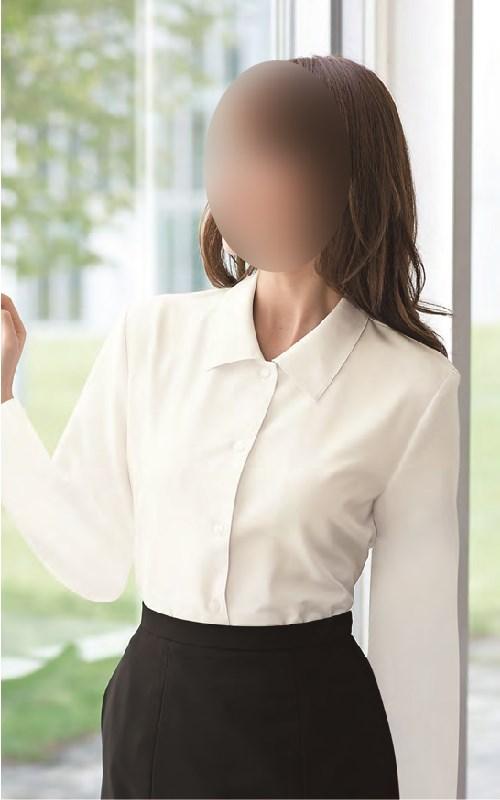 【01040】【enjoie/アンジョア】【女性用/レディース】事務服 長袖 ブラウス シャツ かっこいい系 ホームクリーニング