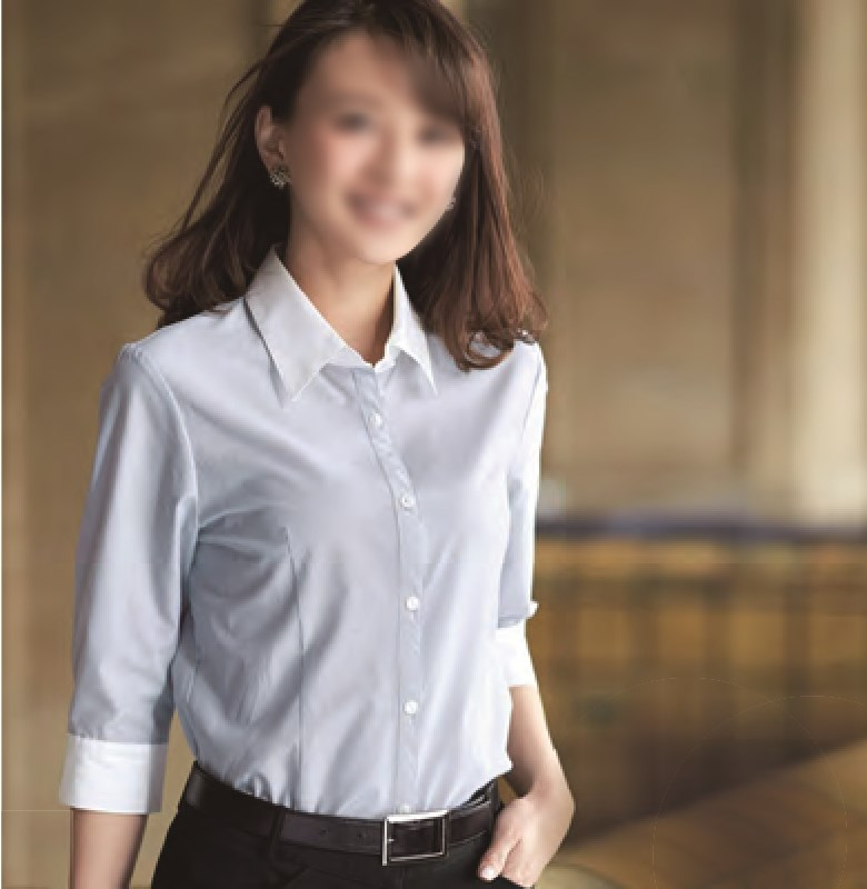 【01096】【enjoie/エンジョア】【女性用/レディース】事務服 七分袖 ブラウス シャツ ストライプ かっこいい系 ホームクリーニング