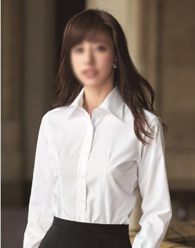【01100】【enjoie/アンジョア】【女性用/レディース】事務服 長袖 ブラウス シャツ かっこいい系 ホームクリーニング
