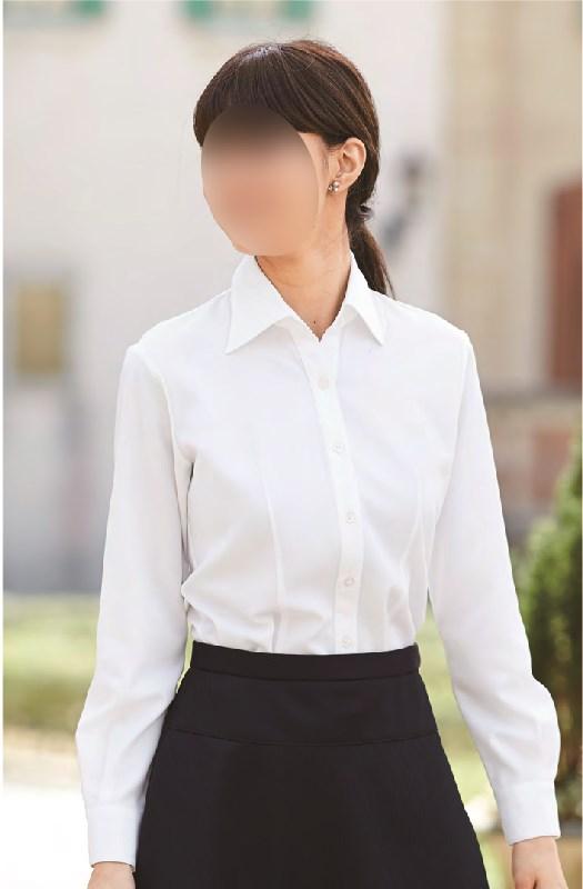 【01135】【enjoie/アンジョア】【女性用/レディース】事務服 長袖 ブラウス シャツ かっこいい系 ホームクリーニング