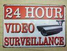24HOURVIDEOSURVEILLANCEアメリカンレトロブリキ風看板(約30cmX20cm)24時間ビデオ監視中!送料無料