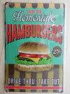 味わってみて家庭的なハンバーガーおふくろの味アメリカンレトロブリキ風看板(約30cmX20cm)ENJOYOURHomestyleHAMBURGERSDRIVETHRU:TAKEOUT送料無料