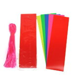 【七夕】七夕短冊tt-112ビニール短冊 大 (100枚) 巾9×長さ30cm 紐付き(ピンク色)※色目をお選び下さい。五色:赤・青・黄・桃・緑(各色20枚入り)赤色:すべて赤色(100枚)