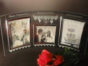 送料無料!※名入れガラスフォトフレーム:チャーム3ウインドー写真たて写真立てスタンド付:ギフトボックス付き:名前入り・結婚祝い・敬老の日・写真立て・ギフト贈り物