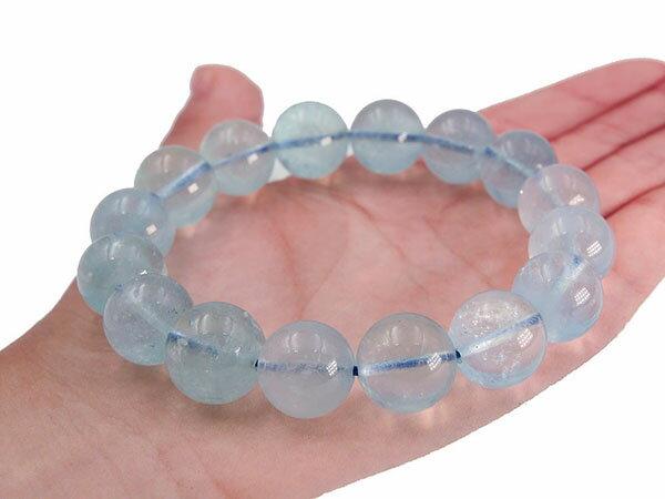 【 高品質 1点もの 】 アクアマリン ブレスレット 大玉 13mm 14mm 玉 ブレス 天然石 パワーストーン 藍玉