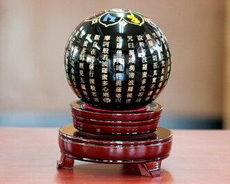 經過般若心|經過縞瑪瑙般若心圓的球|經過般若心|縞瑪瑙圓球|圓的球|經過縞瑪瑙般若心雕刻圓球|置珠|圓的球|走運!風水!經過般若心雕刻縞瑪瑙110mm圓球|置台付來