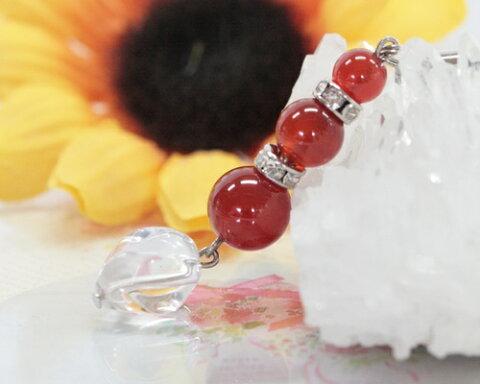 カーネリアン 水晶 ストラップ 赤瑪瑙 ストラップ 水晶 カーネリアン 携帯ストラップ 天然石 水晶 パワーストーン パワーストーン ストラップ 天然石 ストラップ メール便送料無料