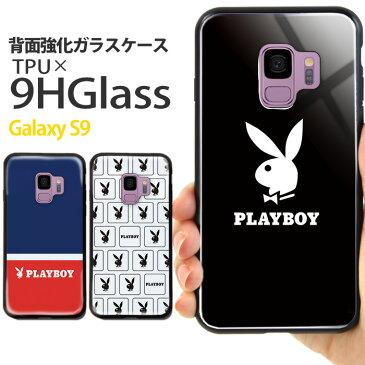 Galaxy S9 SC-02K SCV38 ケース プレイボーイ 背面ガラス ギャラクシー docomo ドコモ au スマホケース カバー 携帯ケース かわいい きれい おしゃれ 韓国 playboy ブランド デザイン コラボ