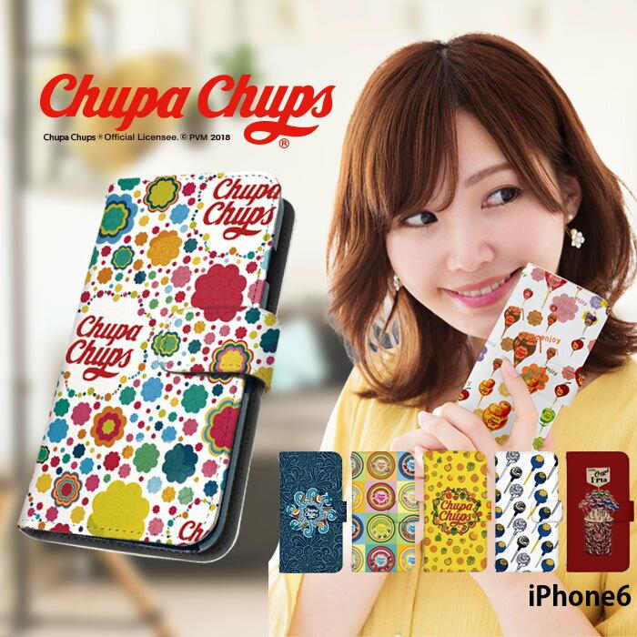iPhone6 ケース 手帳型 かわいい おしゃれ アイフォン カバー ベルトなし あり 選べる デザイン chupa chups チュッパチャプス