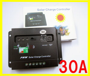 30A 太陽光発電用チャージコントローラー  ソーラーパネル専用コントローラー  12V-24V対応...