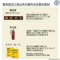高圧ガスを運ぶ際に必要な部材、警戒標、消火器、イエローカード