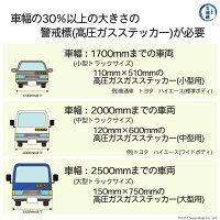 高圧ガス運搬時の必需品高圧ガスステッカー(警戒標)必要サイズ