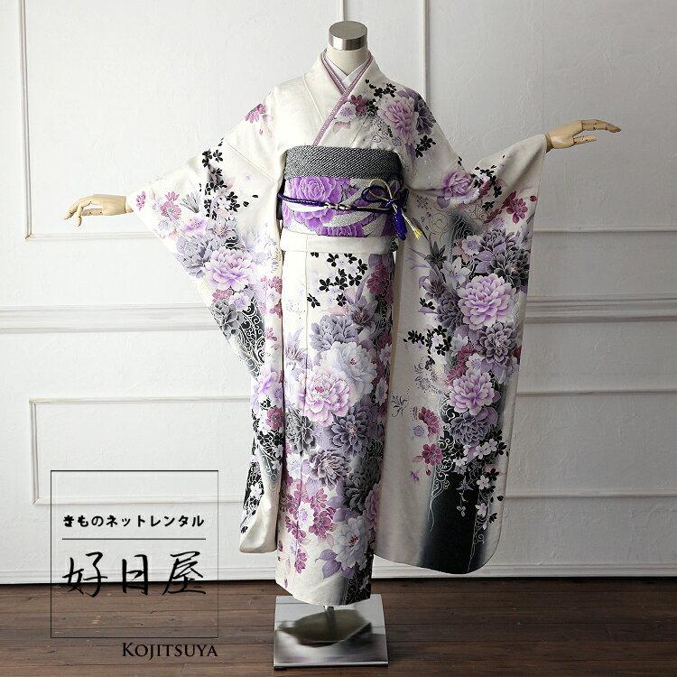 振袖 レンタル フルセット 正絹 着物 【レンタル】 結婚式 成人式 身長155-170cm 白 wh-003