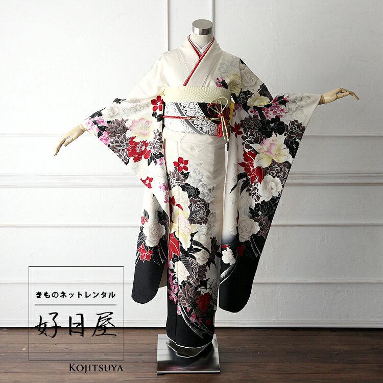 振袖 レンタル フルセット 正絹 着物 【レンタル】 結婚式 成人式 身長147-162cm 白 wh-009