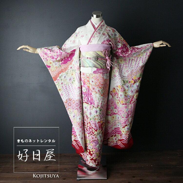 振袖 レンタル フルセット 正絹 着物 【レンタル】 結婚式 成人式 身長155-170cm 白 wh-019