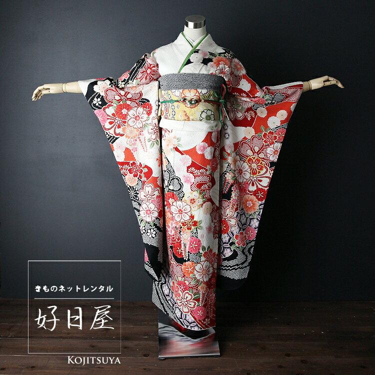 振袖 レンタル フルセット 正絹 着物 結婚式 成人式 身長147-162cm 白 wh-020