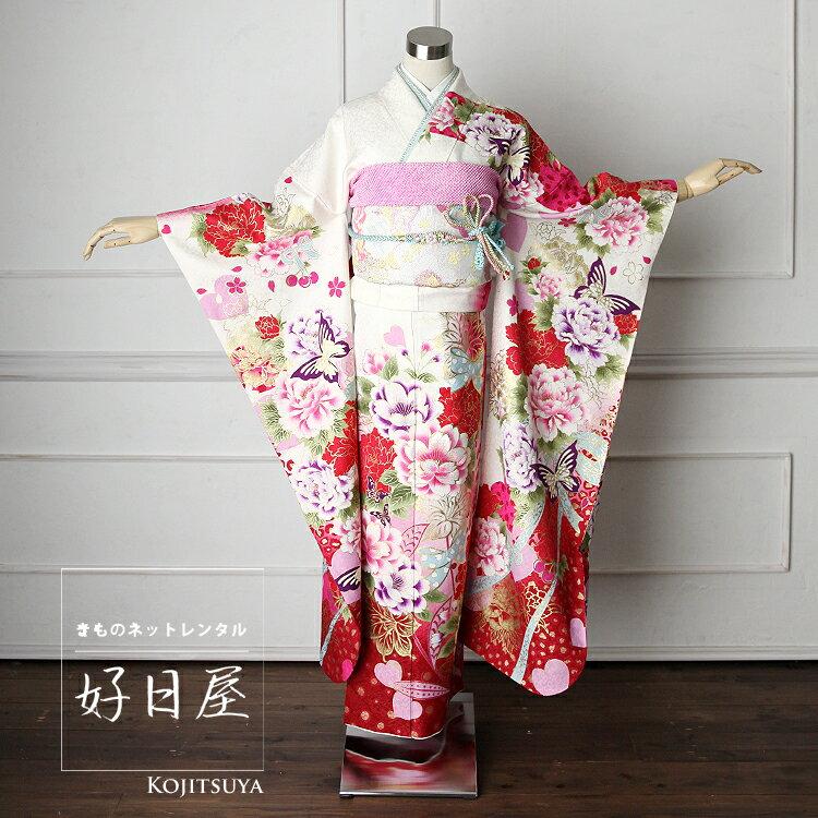 振袖 レンタル フルセット 正絹 着物 結婚式 成人式 身長161-176cm 白 wh-023