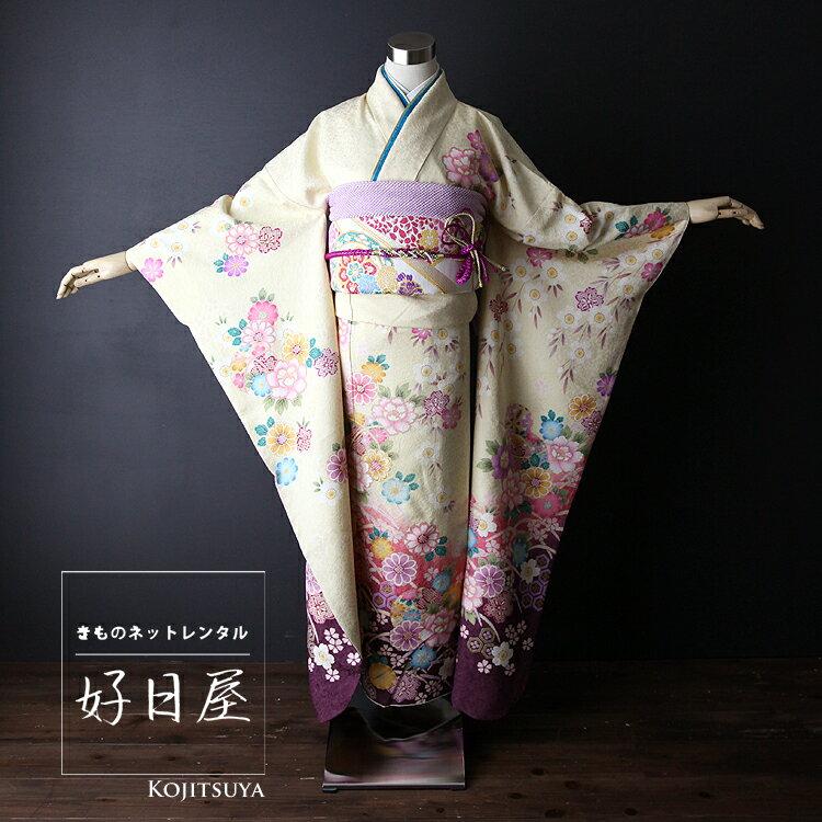 振袖 レンタル フルセット 正絹 着物 【レンタル】 結婚式 成人式 身長161-176cm 黄 ye-004