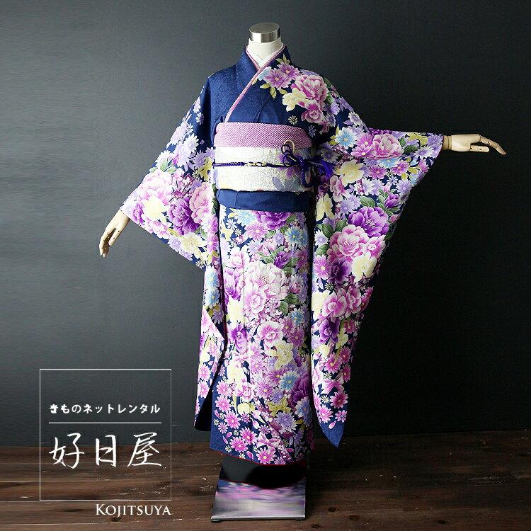 振袖 レンタル フルセット 正絹 着物 【レンタル】 結婚式 成人式 身長149-164cm 青 bl-001