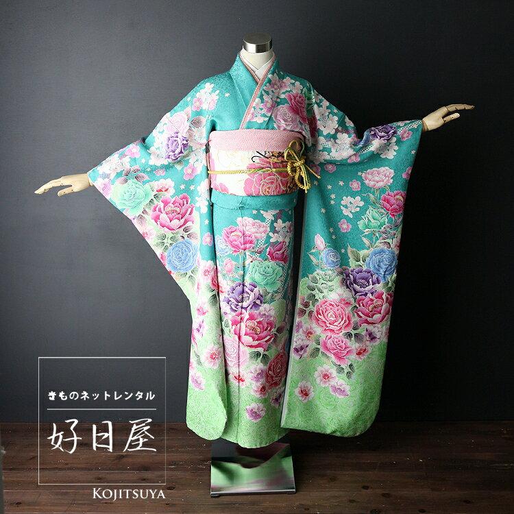 振袖 レンタル フルセット 正絹 着物 【レンタル】 結婚式 成人式 身長155-170cm 緑 gr-003