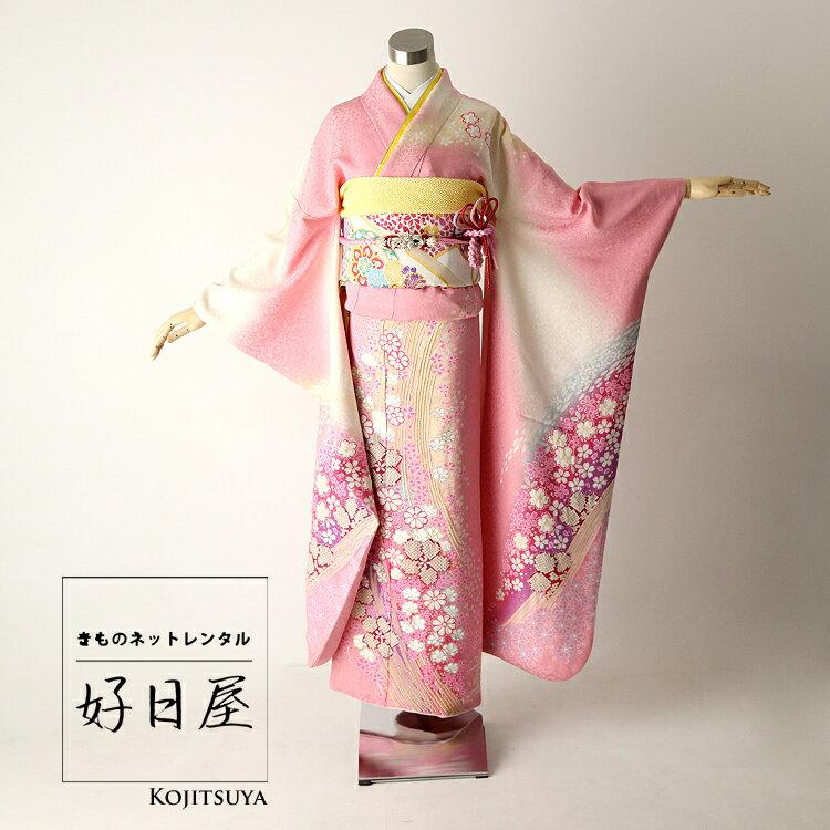 【レンタル】 振袖 フルセット 正絹 身長159-174cm ピンク pi-002
