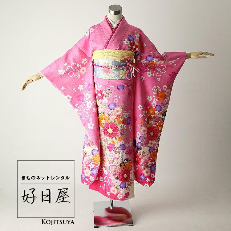 振袖 レンタル フルセット 正絹 着物 【レンタル】 結婚式 成人式 身長144-159cm ピンク pi-004