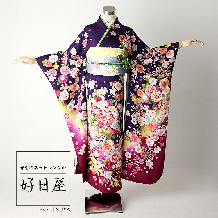 振袖 レンタル フルセット 正絹 着物 【レンタル】 結婚式 成人式 身長161-176cm 紫 pu-011