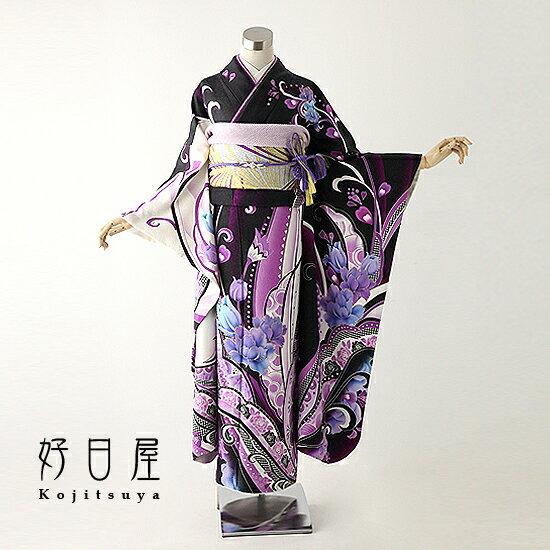 【レンタル】 振袖 フルセット 正絹 身長157-172cm 紫 pu-006