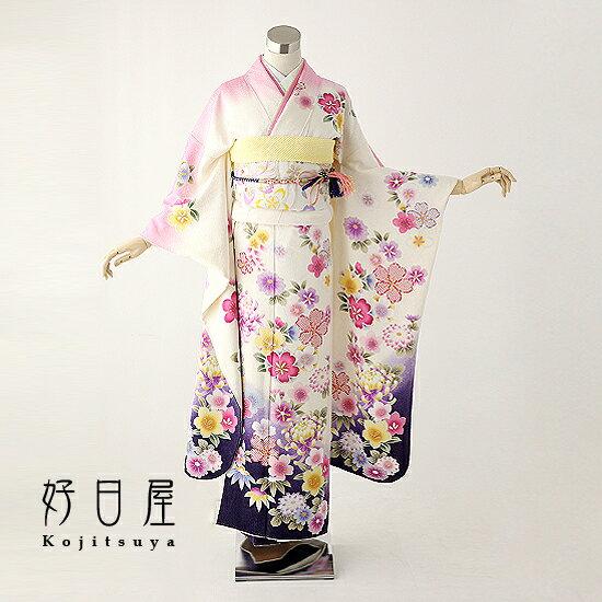 振袖 レンタル フルセット 正絹 着物 【レンタル】 結婚式 成人式 身長145-160cm 白 wh-005