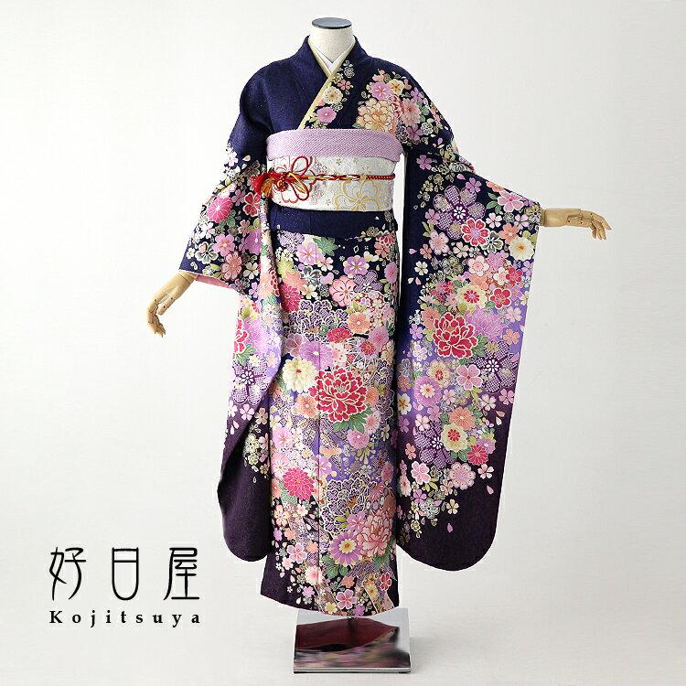 振袖 レンタル フルセット 正絹 着物 【レンタル】 結婚式 成人式 身長155-170cm 青 bl-011