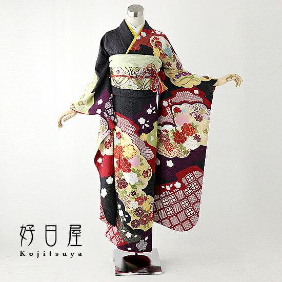 振袖 レンタル フルセット 正絹 着物 【レンタル】 結婚式 成人式 身長157-172cm 黒 bk-011