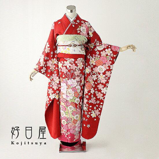 振袖 レンタル フルセット 正絹 着物 【レンタル】 結婚式 成人式 身長157-172cm 赤 re-022