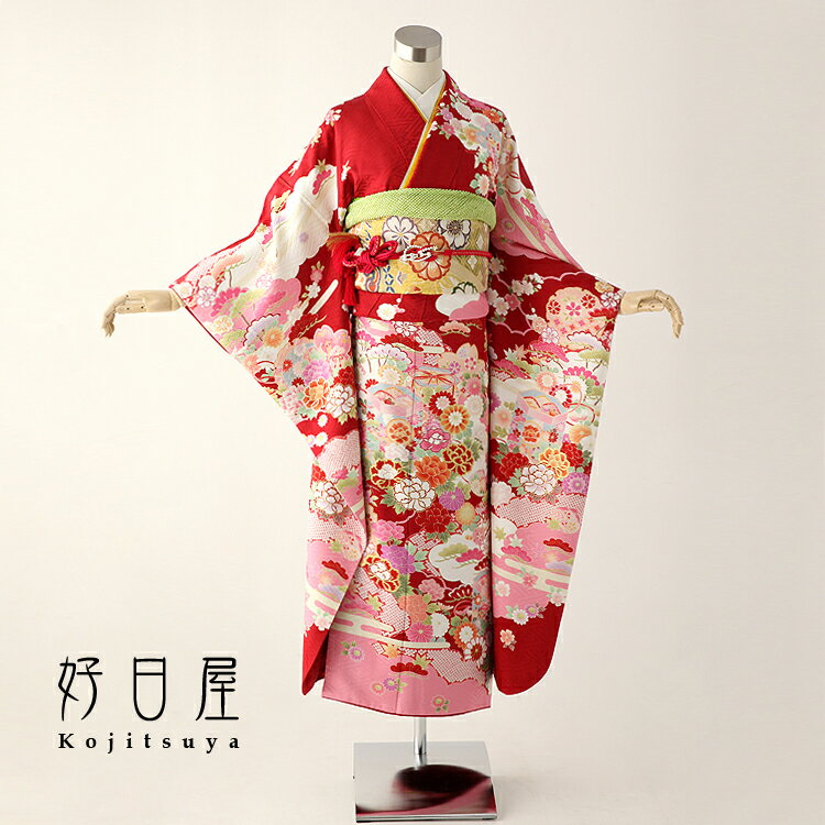 振袖 レンタル フルセット 正絹 着物 【レンタル】 結婚式 成人式 身長142-157cm 赤 re-007