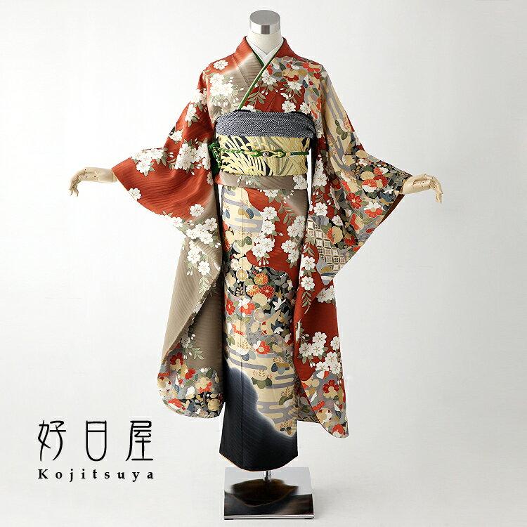 振袖 レンタル フルセット 正絹 着物 結婚式 成人式 身長150-165cm 茶 br-003