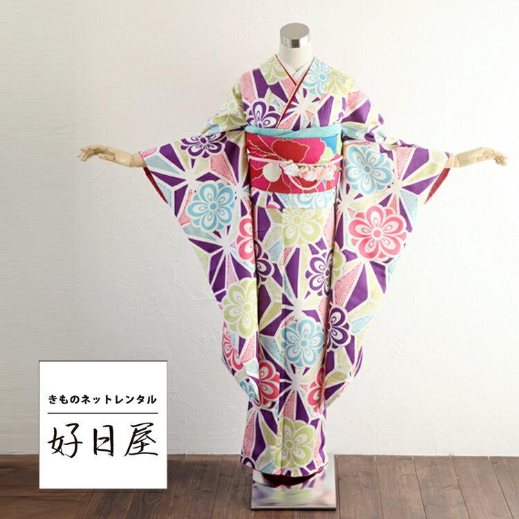 振袖 レンタル フルセット 正絹 着物 【レンタル】 結婚式 成人式 身長148-163cm 紫 pu-014