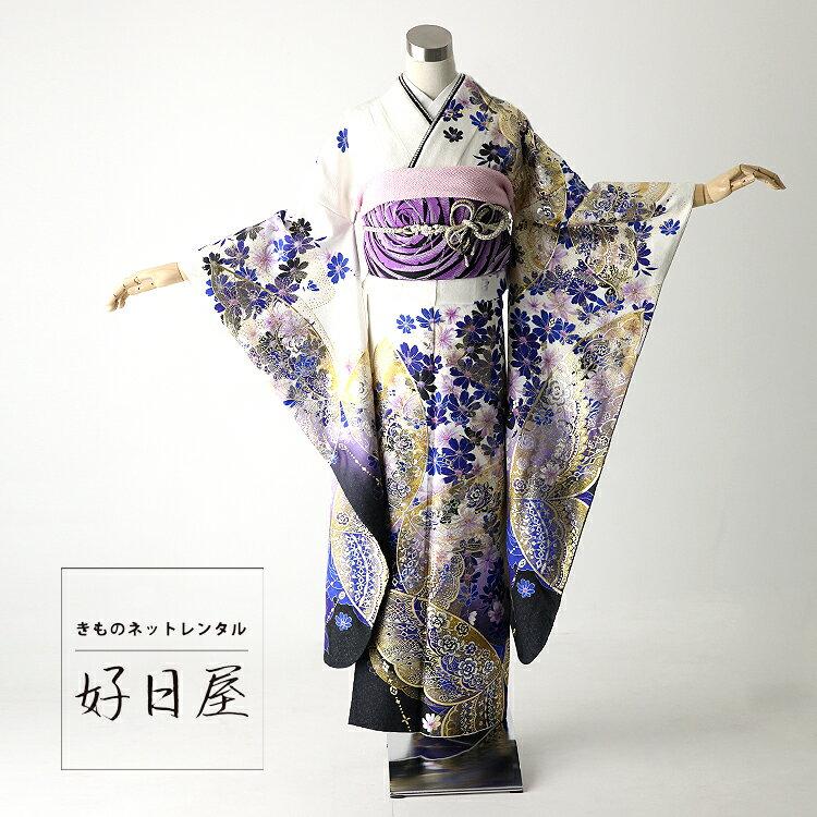 振袖 レンタル フルセット 正絹 着物 【レンタル】 結婚式 成人式 身長152-167cm 白 wh-025