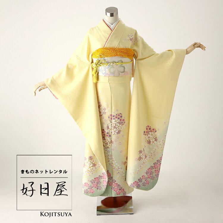 振袖 レンタル フルセット 正絹 着物 結婚式 成人式 身長159-174cm 黄 ye-001