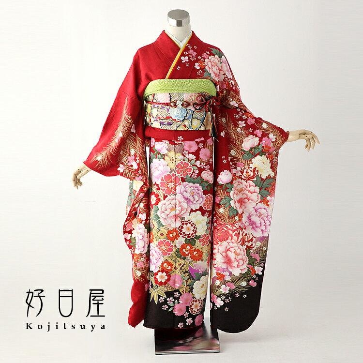 振袖 レンタル フルセット 正絹 着物 【レンタル】 結婚式 成人式 身長161-176cm 赤 re-023