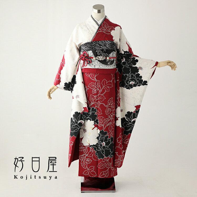 振袖 レンタル フルセット 正絹 着物 結婚式 成人式 身長145-160cm 赤 re-028