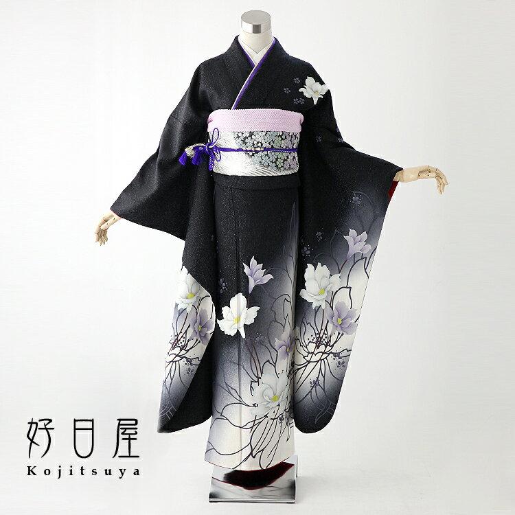 振袖 レンタル フルセット 正絹 着物 【レンタル】 結婚式 成人式 身長157-172cm 黒 bk-019