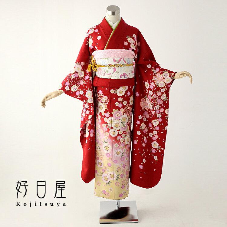 振袖 レンタル フルセット 正絹 着物 【レンタル】 結婚式 成人式 身長144-159cm 赤 re-030-s