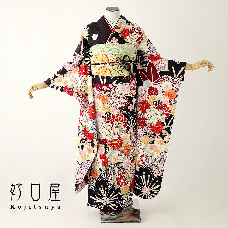 【レンタル】 振袖 フルセット 正絹 適応身長145〜160cm 黒 bk-043