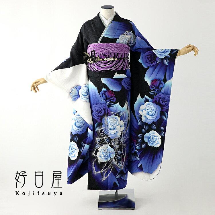 振袖 レンタル フルセット 正絹 着物 【レンタル】 結婚式 成人式 身長155-170cm 黒 bk-045-s
